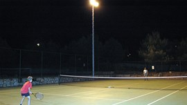 Inside Jezera Village tourist resort it is even possible to play tennis at night